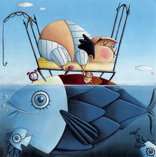 """Un disegno che raffigura il proverbio """"Chi dorme non piglia pesci"""""""