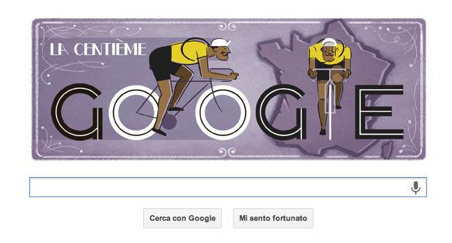 Tour de France: immagine del logo di Google dedicato all'edizione N°100