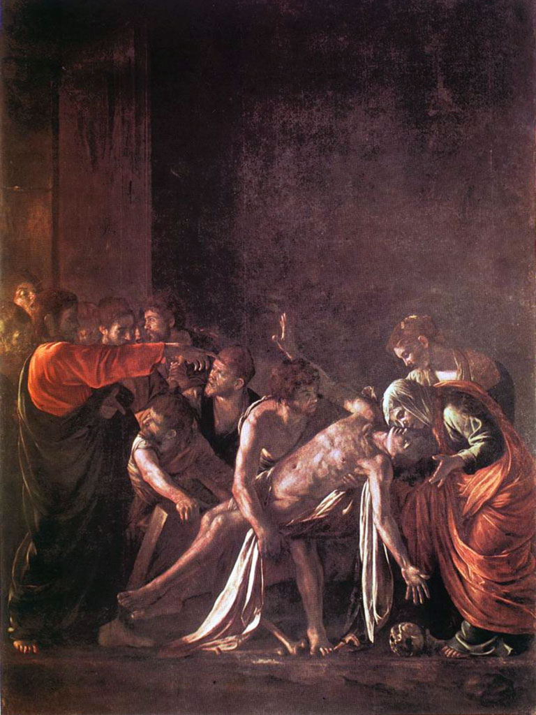 La resurrezione di Lazzaro, dipinta da Caravaggio (anno 1609)