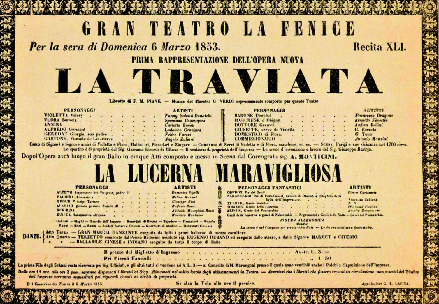 La traviata, locandina del 6 Marzo 1853
