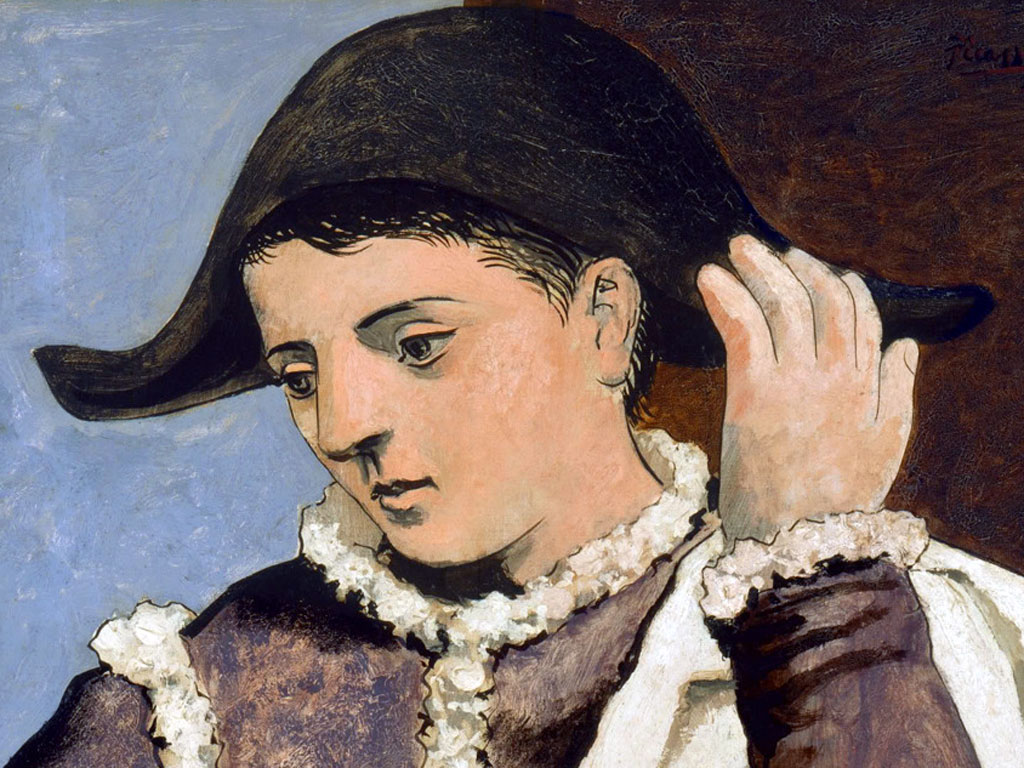 Un dettaglio del volto di Arlecchino (o Pierrot)