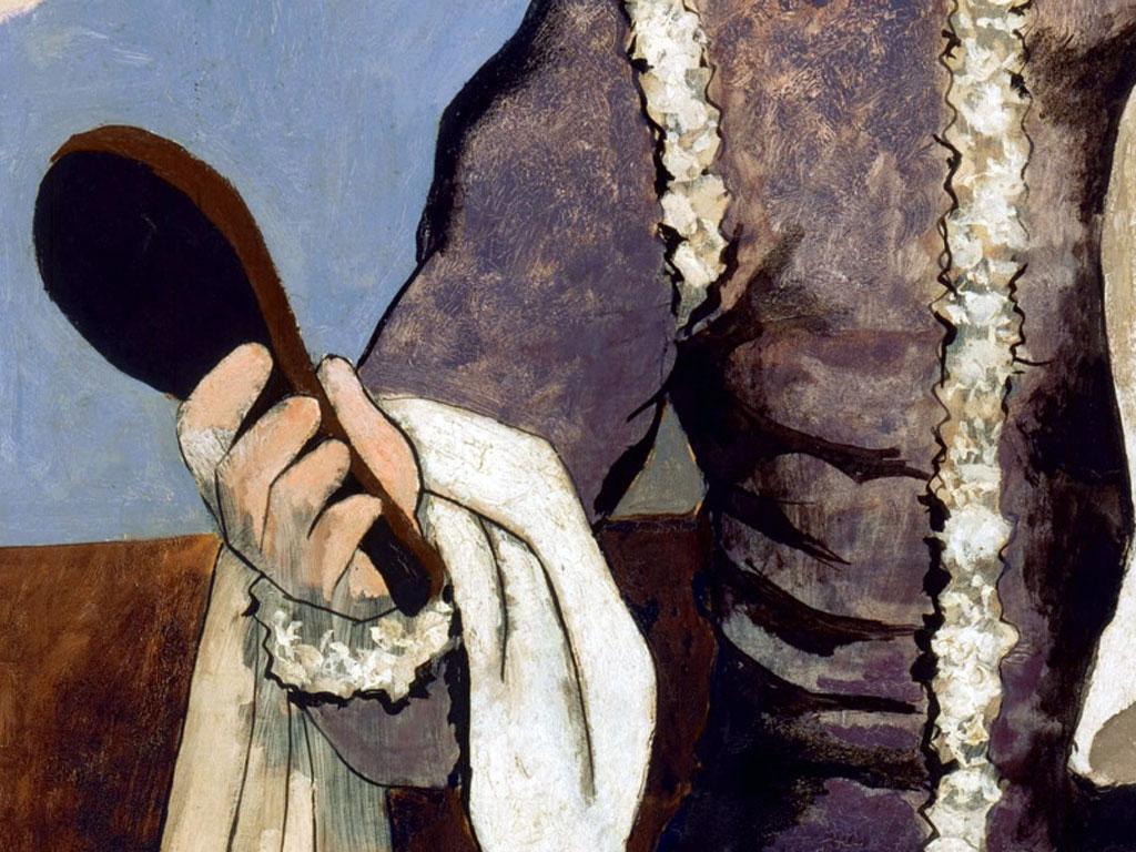 """Un dettaglio del quadro """"Arlecchino allo specchio"""", di Pablo Picasso"""