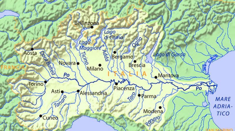 Il fiume Po - mappa