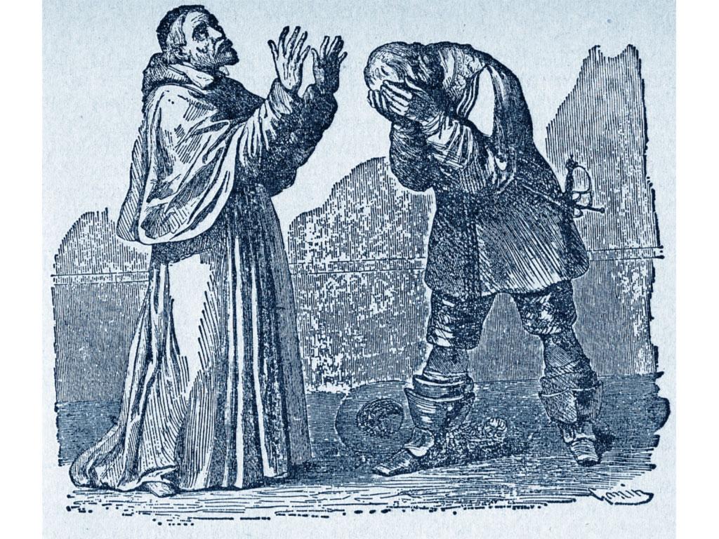 L'Innominato si pente davanti al Cardinale Borromeo