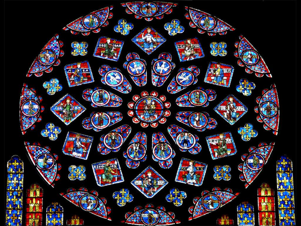 Il rosone del lato nord presente nella Cattedrale di Chartres