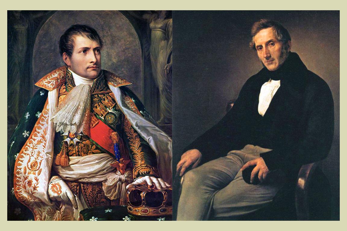 Napoleone Bonaparte (15 agosto 1769 - 5 maggio 1821) e Alessandro Manzoni (07 marzo 1785 - 22 maggio 1873)