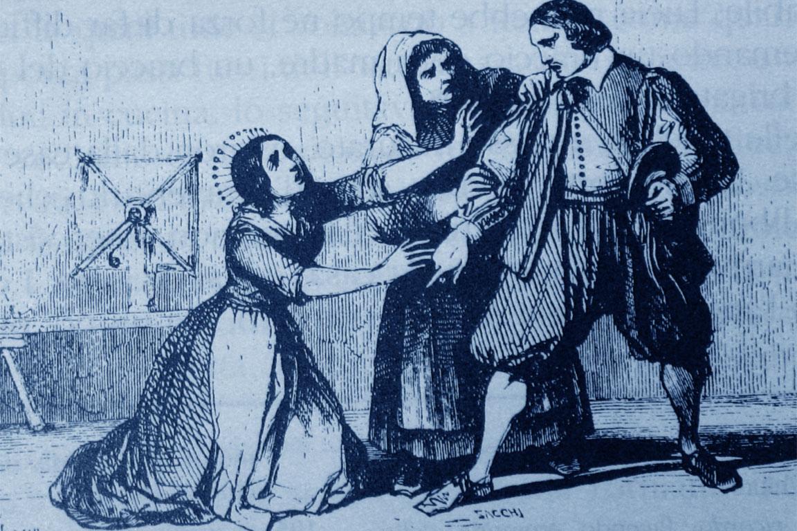 Promessi sposi: Lucia, Agnese e Renzo