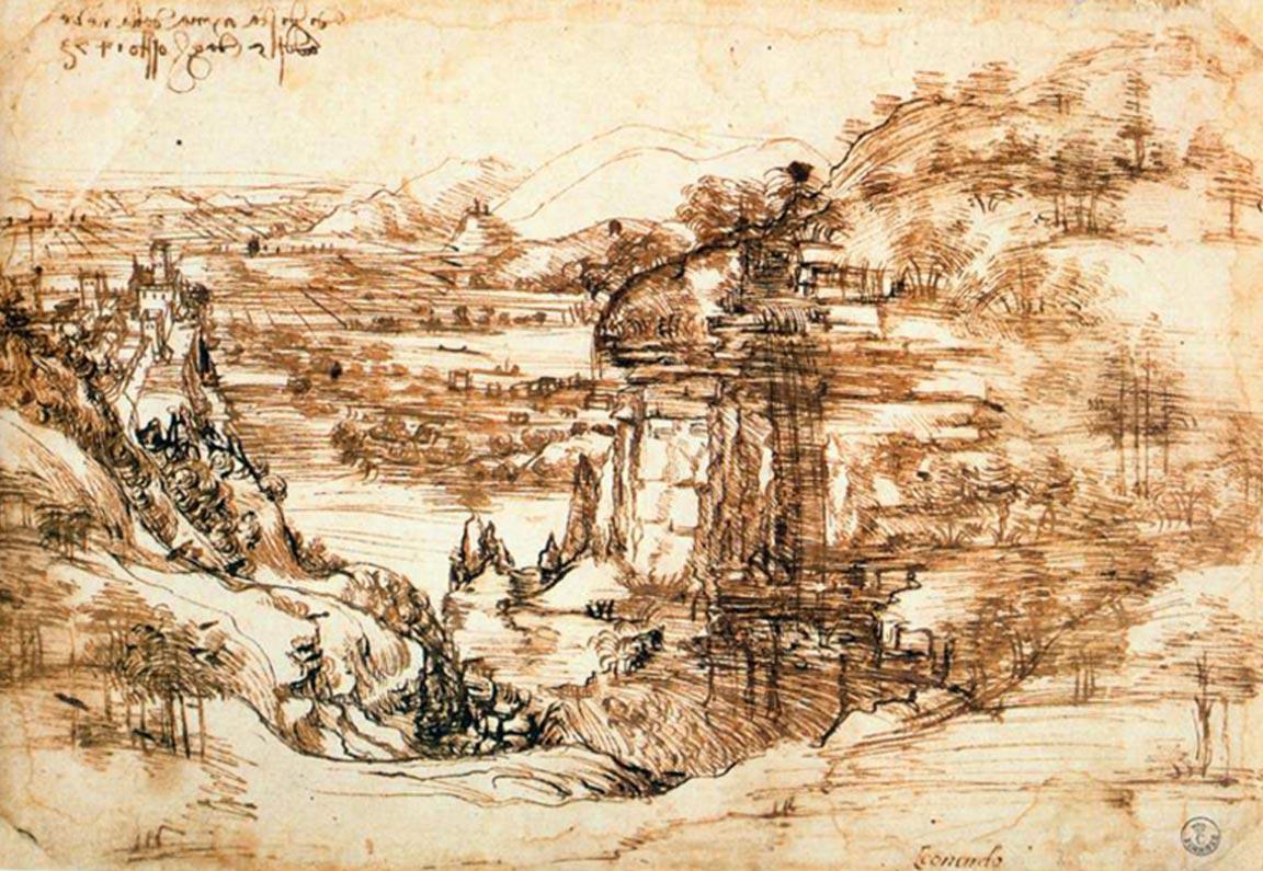 Leonardo da Vinci: Paesaggio d'Arno (1473)