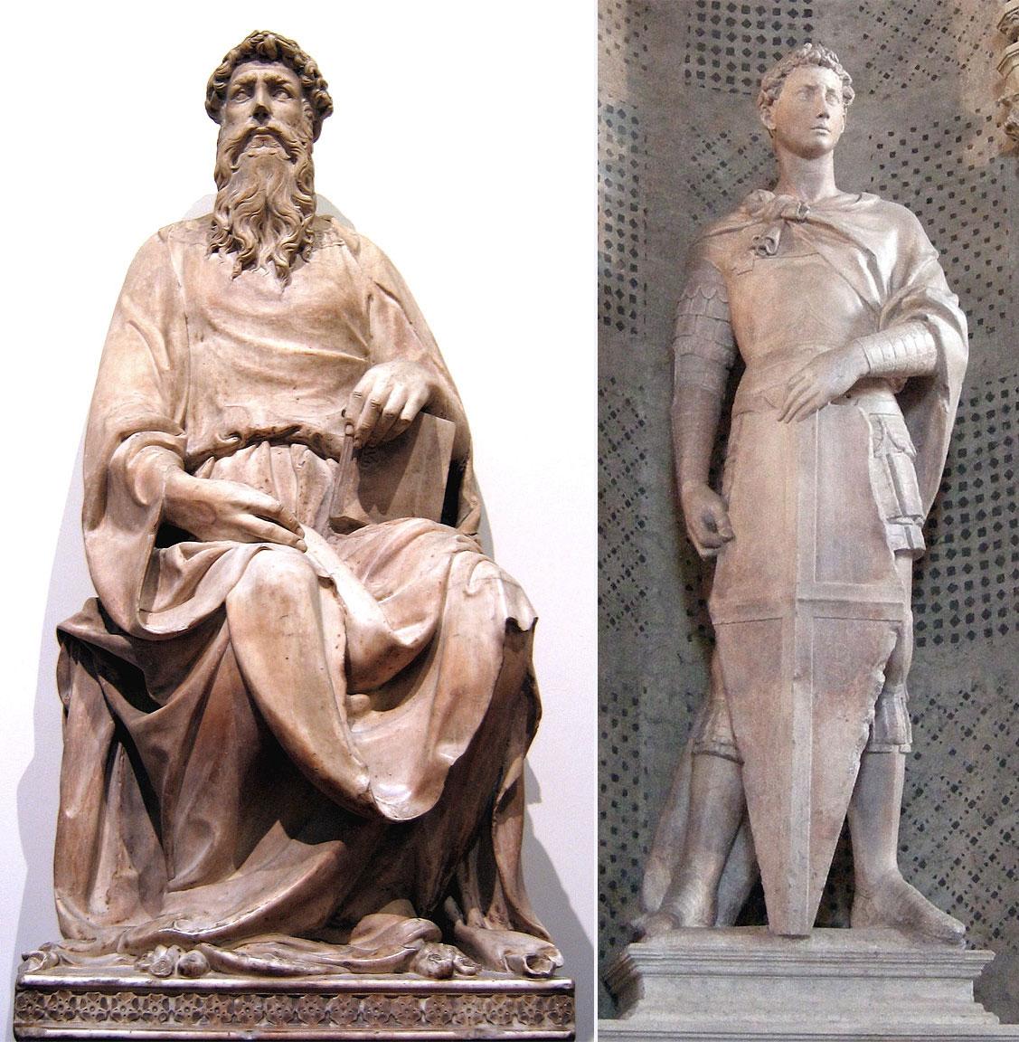 San Giovanni Evangelista e San Giorgio: sculture di Donatello