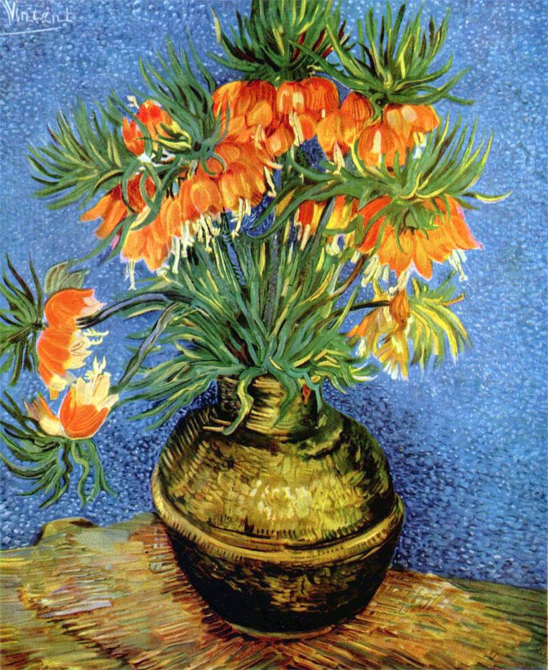 Fritillaria imperiale in un vaso di rame Van Gogh