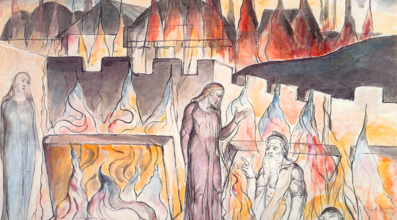 Farinata e Calvalcante con Dante e Virgilio, illustrazione di William Blake