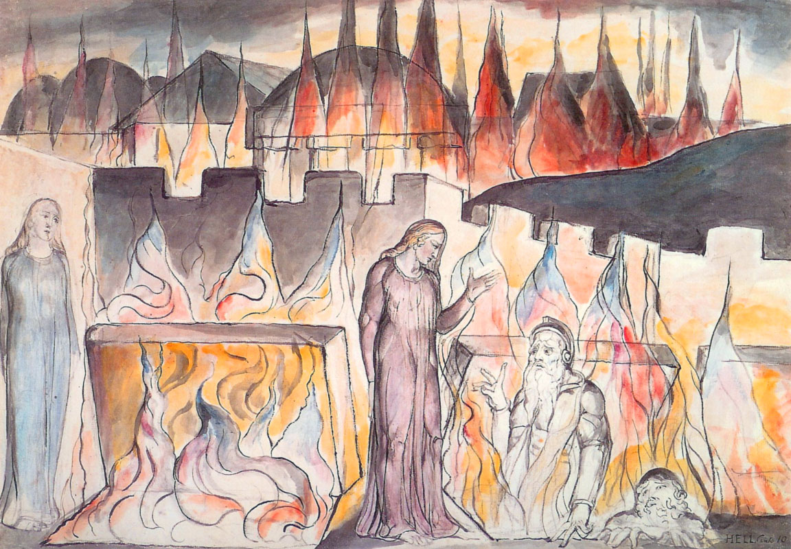 Illustrazione di William Blake: Farinata e Calvalcante con Dante e Virgilio (Canto decimo)