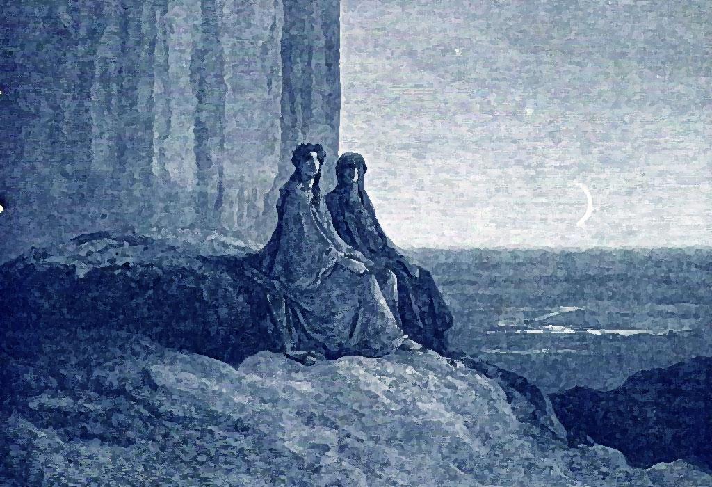 Dante e Virgilio passano la notte nell'Antipurgatorio, illustrazione di Gustave Doré
