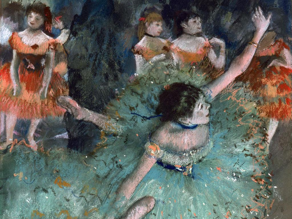 Degas, Ballerina Verde: dettaglio
