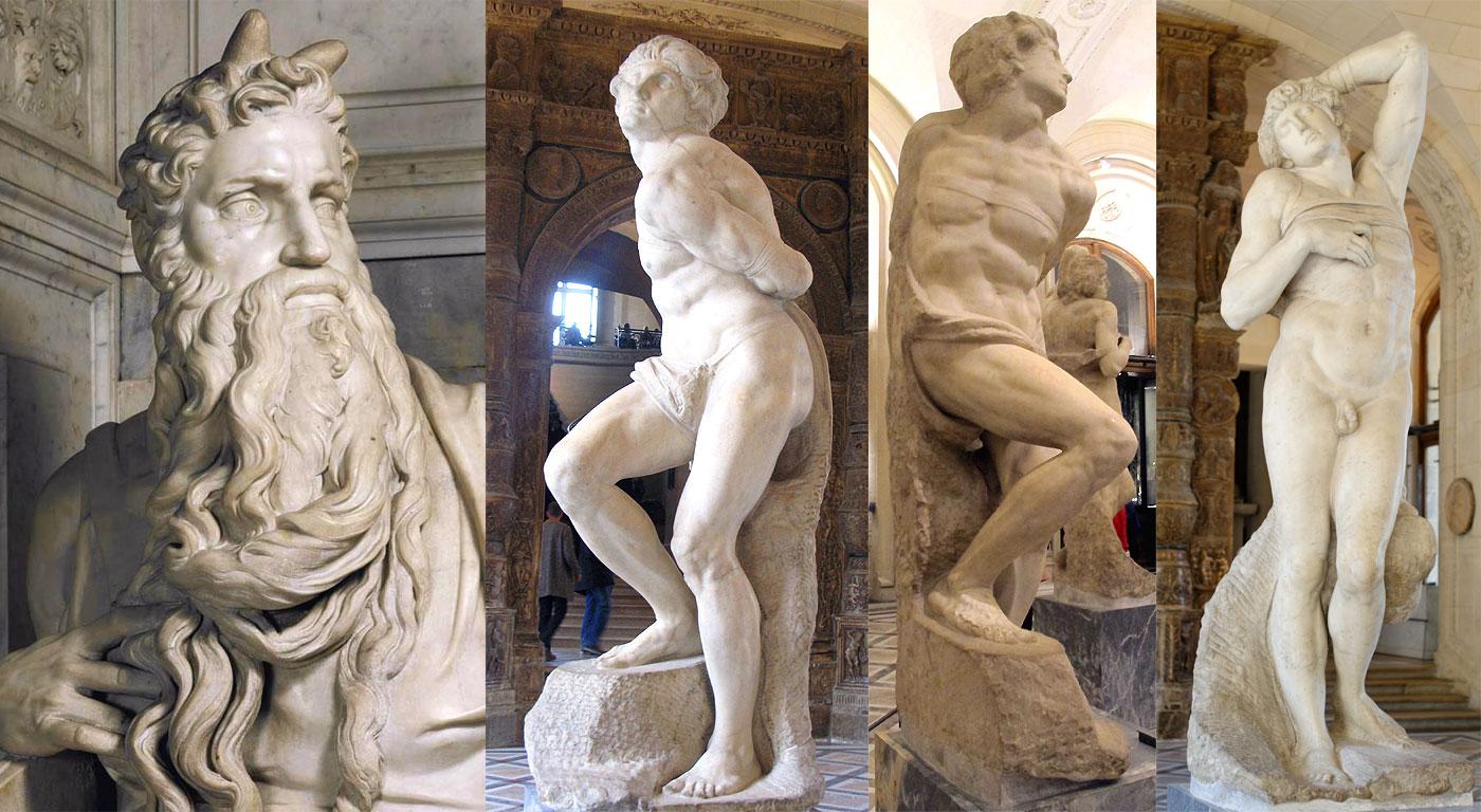 Mosè, lo Schiavo ribelle e lo Schiavo morente: celebri sculture di Michelangelo per la tomba di Papa Giulio II