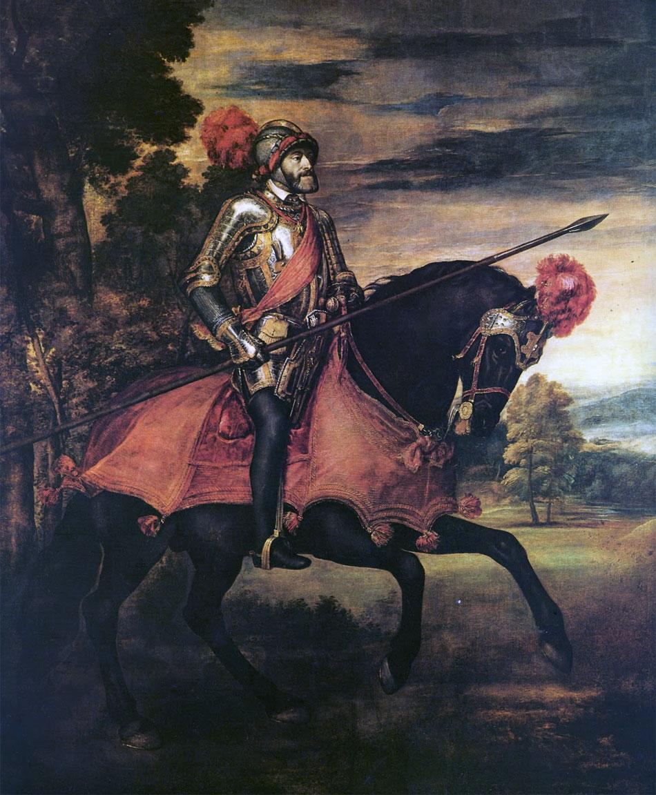 Ritratti di Tiziano: Carlo V a cavallo - Quadro di Tiziano Vecellio