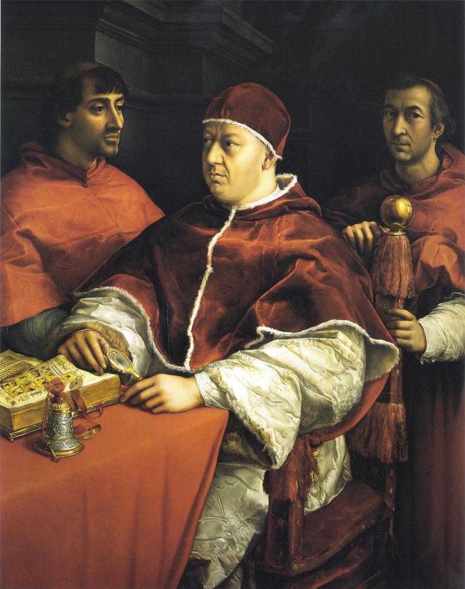 Papa Leone X con i cardinali Giulio de Medici e Luigi de Rossi - opera di Raffaello