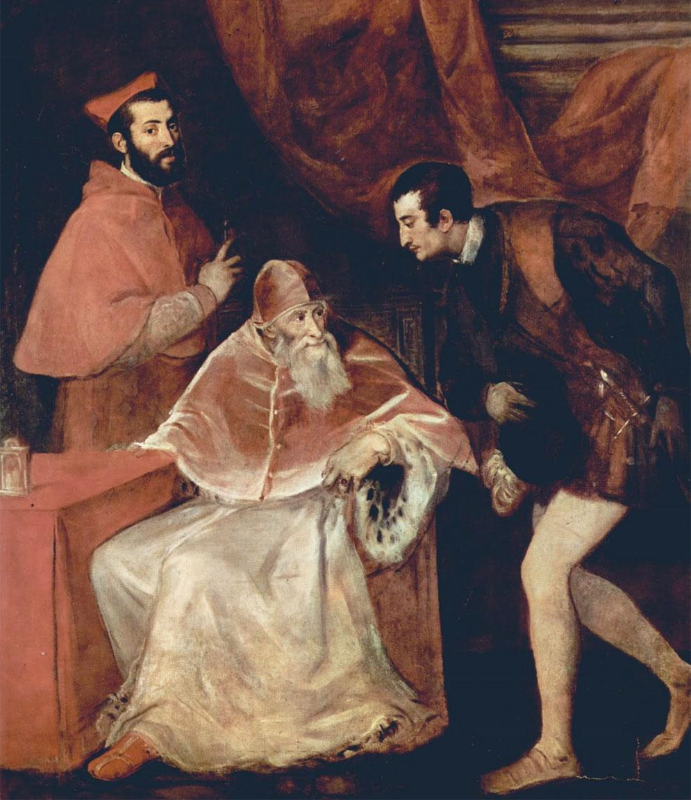 Papa Paolo III con nipoti Alessandro e Ottavio Farnese - opera di Tiziano