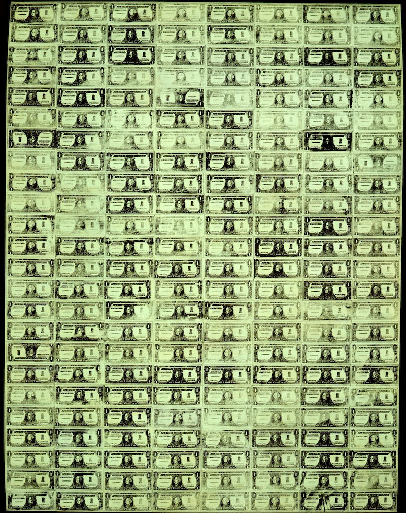 192 one dollar bills (1962, Andy Warhol)