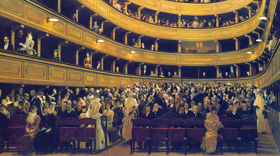 L'interno del vecchio Burgtheater: dettaglio dei volti