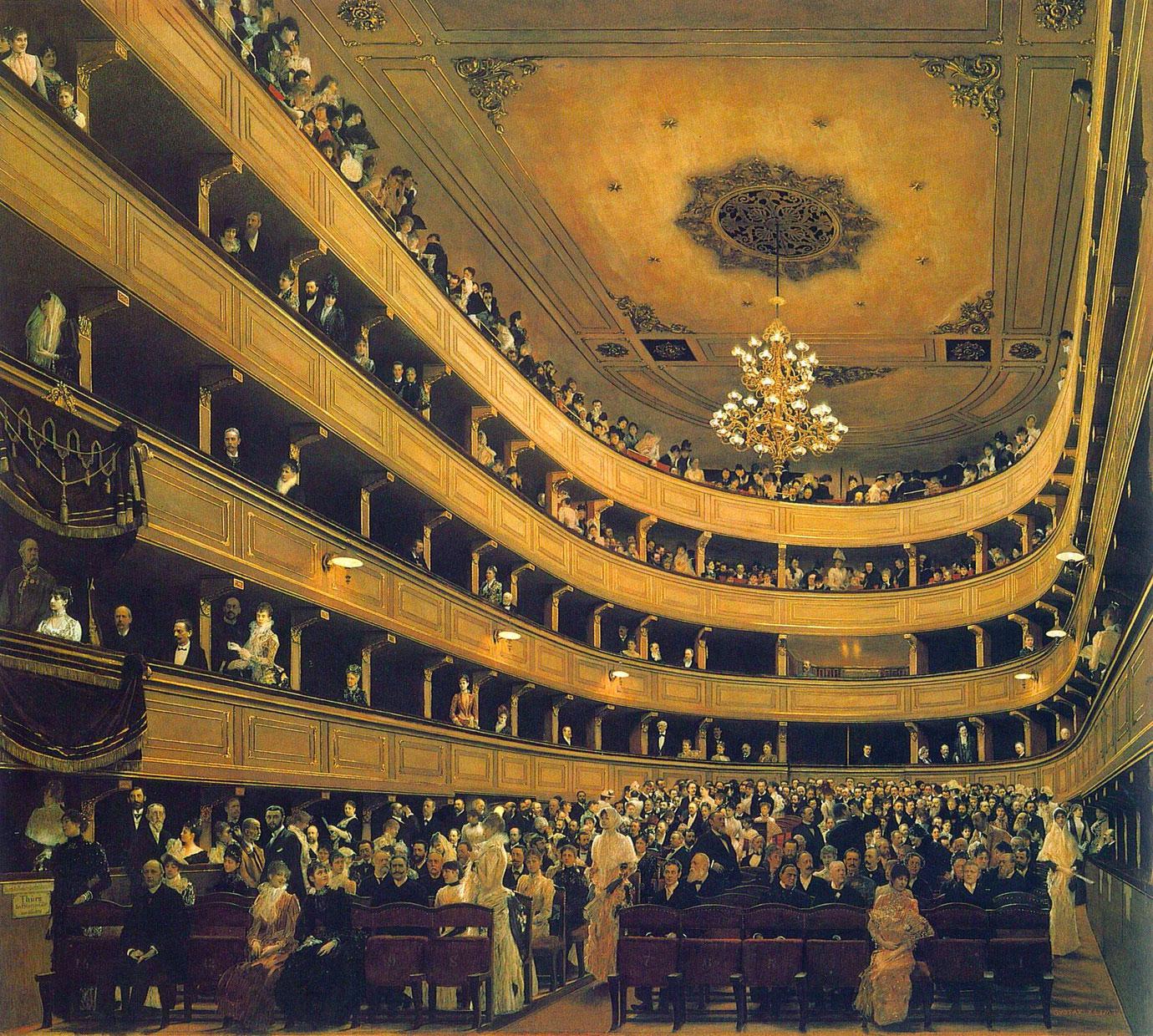 L'interno del vecchio Burgtheater - opera di Klimt del 1888