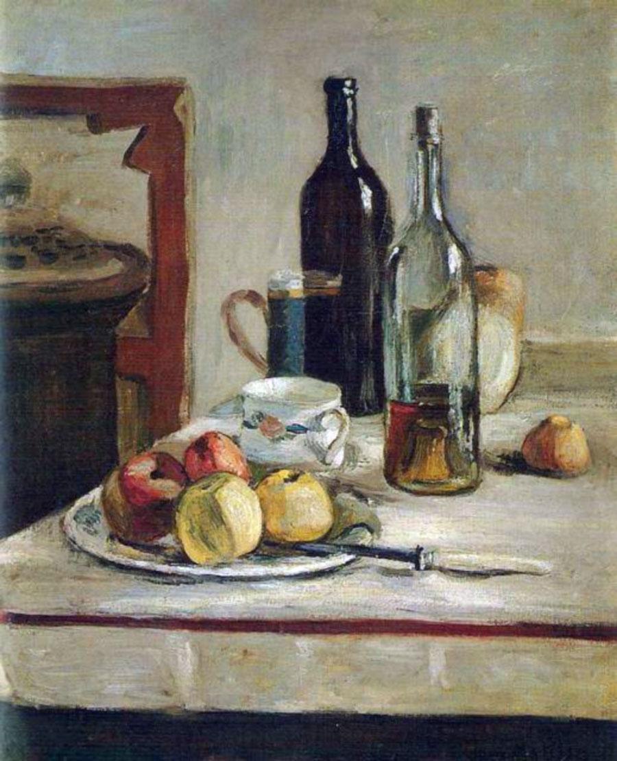 Natura morta con due bottiglie (Henri Matisse: olio su tela, centimetri 73x60, 1896)