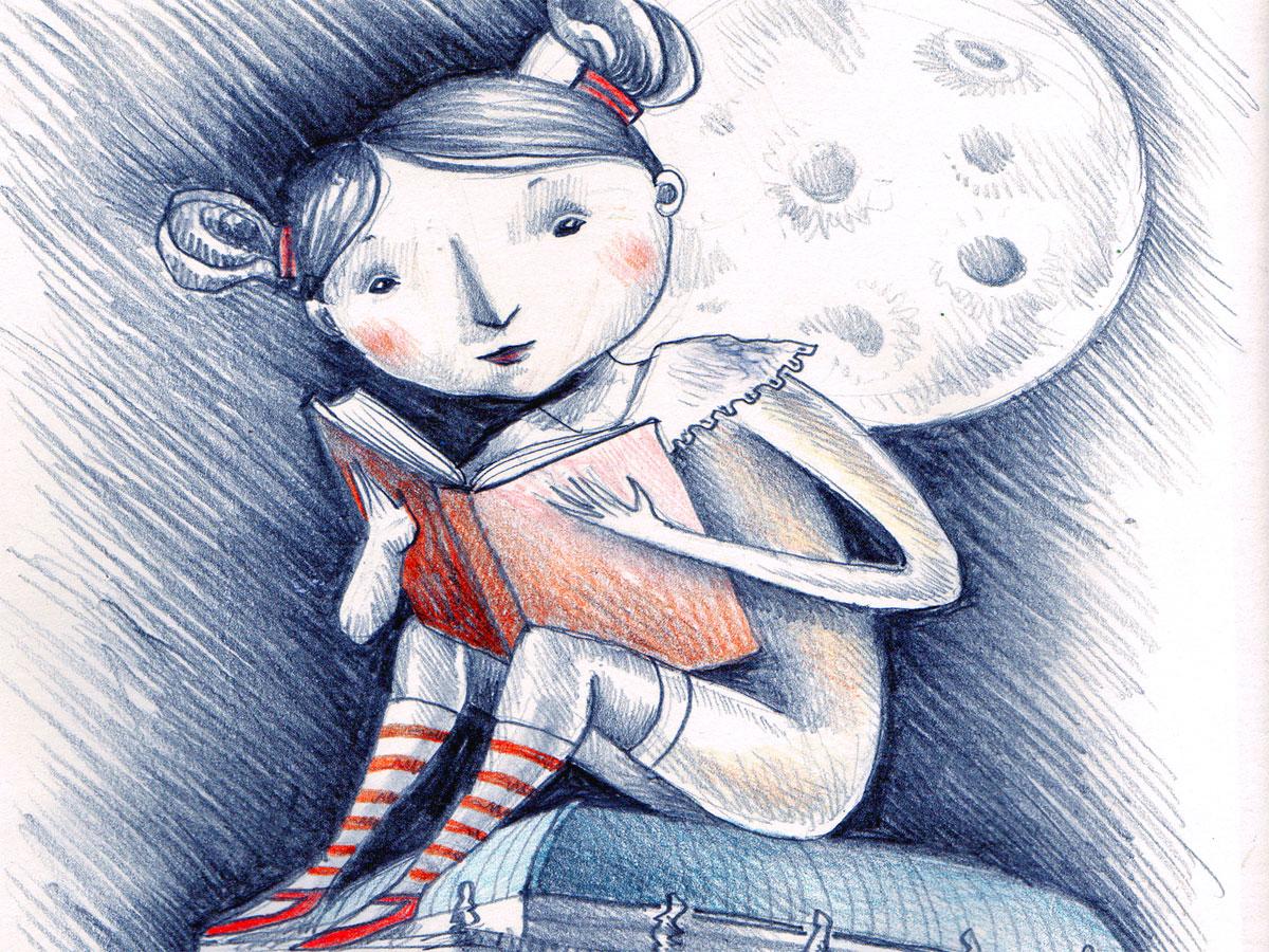 Fabula e intreccio: una ragazza legge un libro di favole