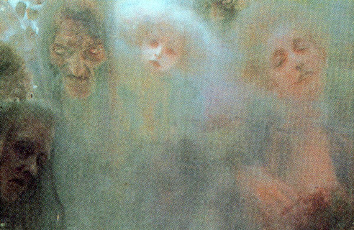 Amore - Klimt: dettaglio delle figure in alto