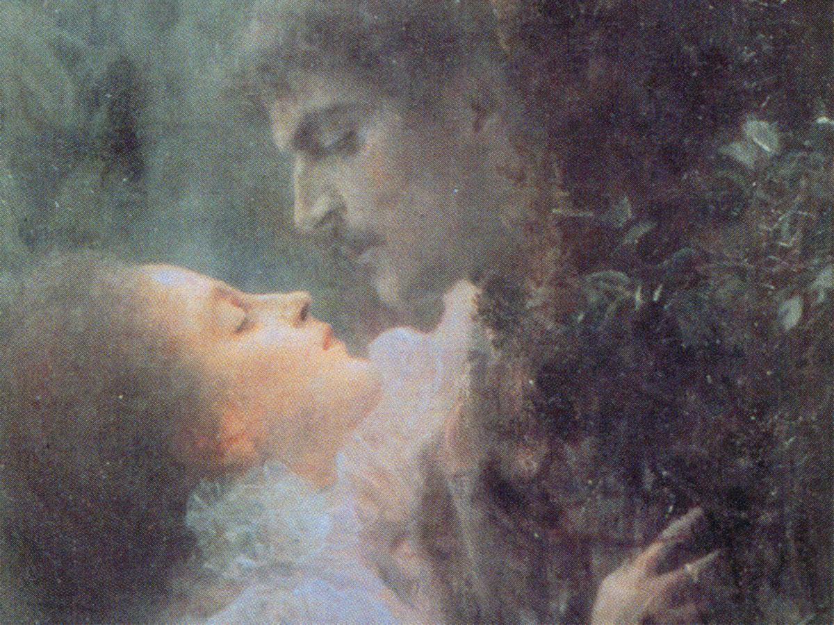 Amore (Klimt): dettaglio dei volti centrali