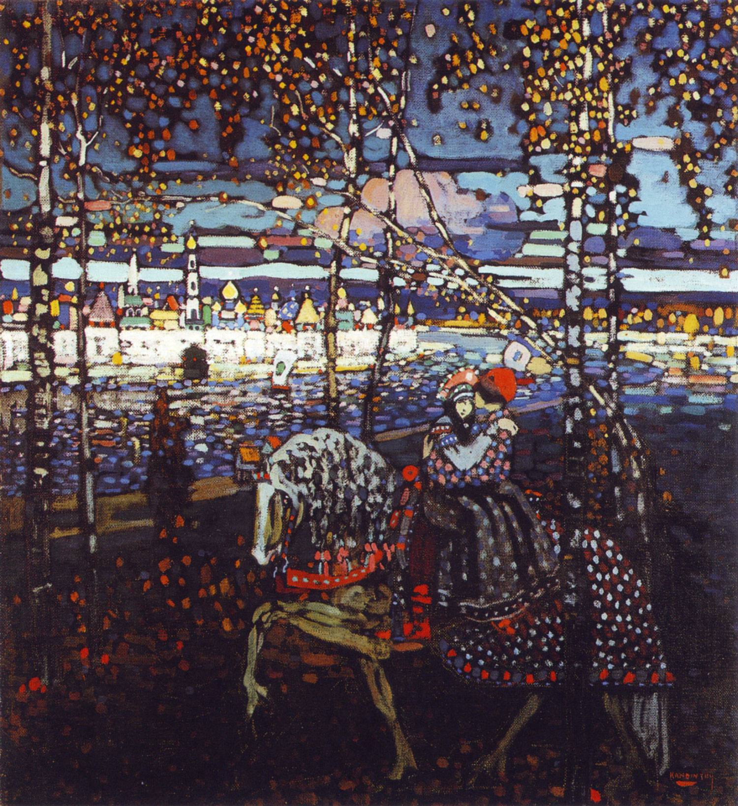 Wassily Kandinsky: Coppia a cavallo (1906) • Olio su tela • cm 55 x 50,5 • Stadtische Galerie im Lenbachhaus (Monaco, Germania)