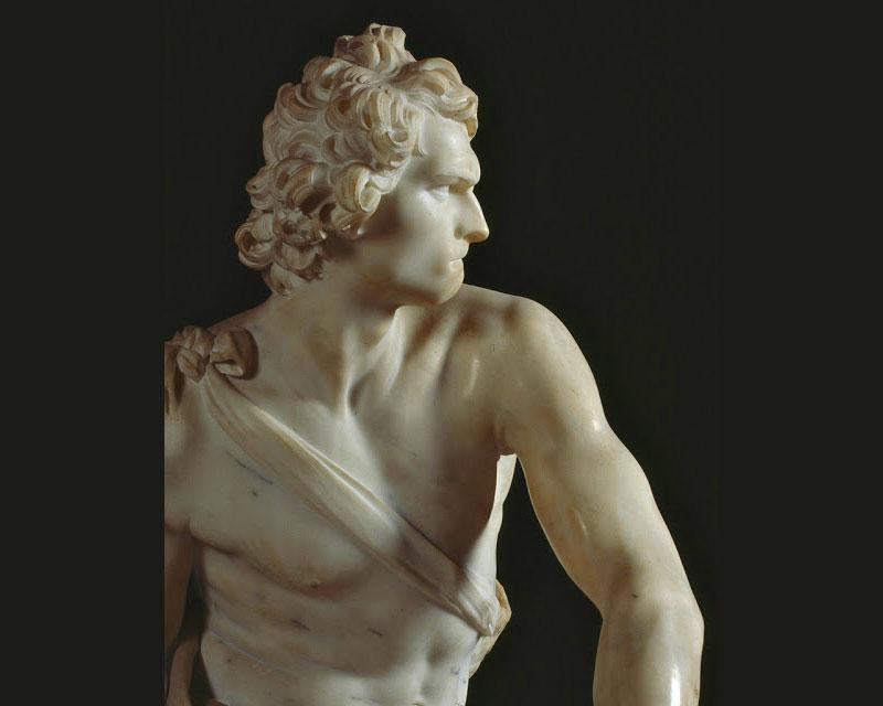 Il David di Bernini: un dettaglio della celebre scultura