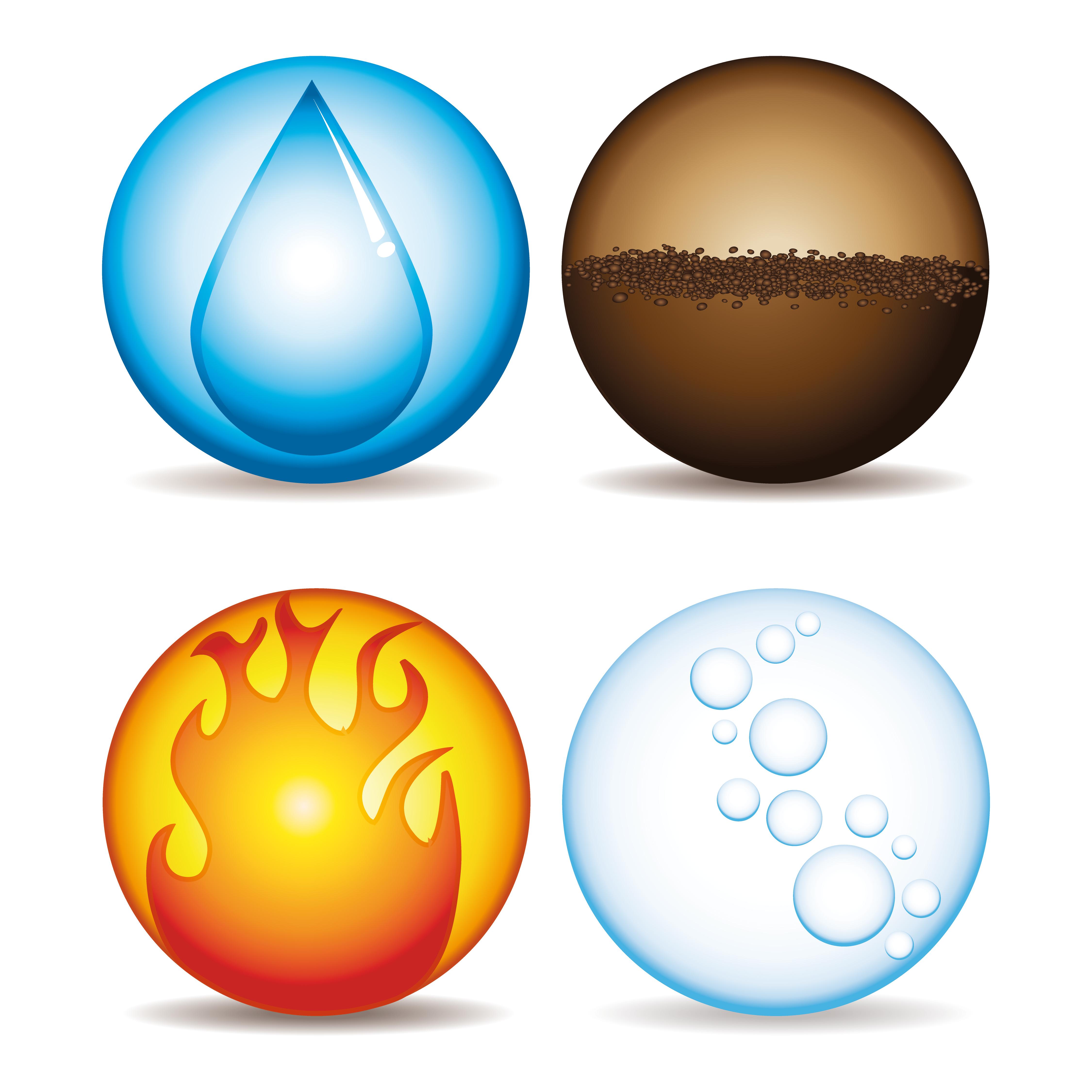 La teoria dei 4 elementi fuoco aria acqua terra - Immagini da colorare della natura ...