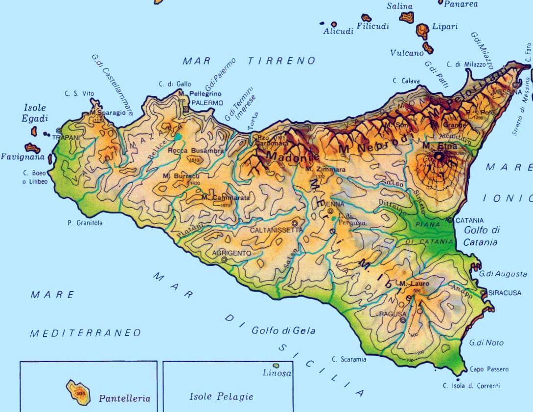 Cartina Mappa Sicilia.Cartina Della Sicilia