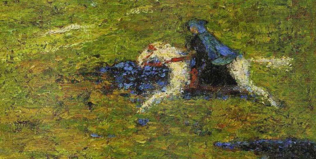 Wassily Kandisnky, Il Cavaliere Azzurro (1903) - dettaglio del quadro