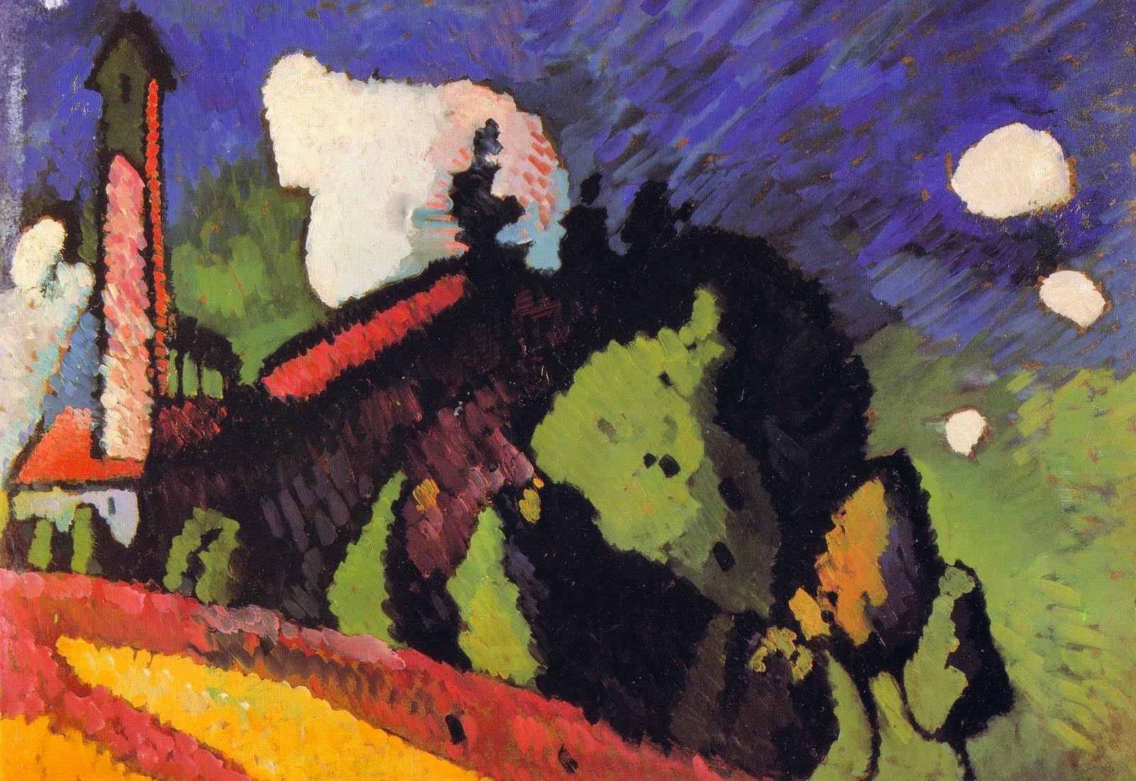 Kandinsky: Paesaggio con torre (1908)