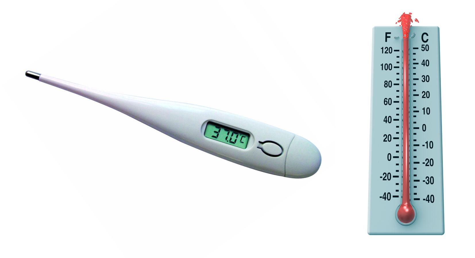 Termometro elettronico e termometro tradizionale con scale che misurano i gradi Centigradi e Fahrenheit