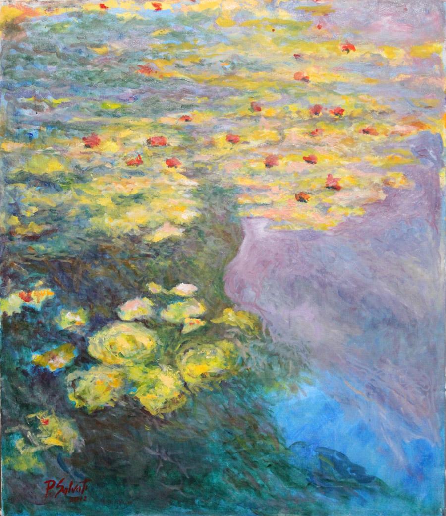 Paolo Salvati: Ninfee - Omaggio a Monet - Olio su Tela 60x70 - anno 2012