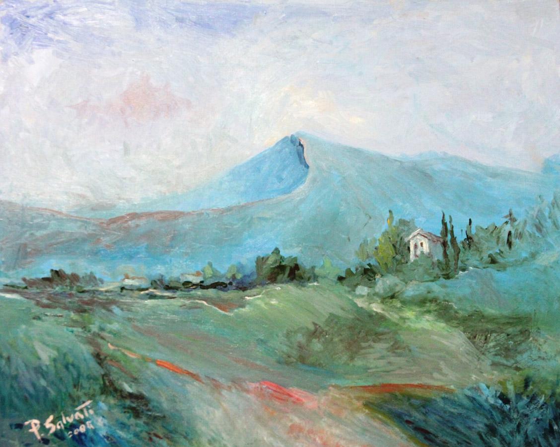 Paolo Salvati: Paesaggio Inventato - olio su tavola 40x50 - anno 2008