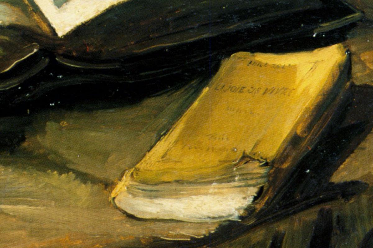 """Natura morta con Bibbia, dettaglio: """"La Joie de vivre"""" (opera di Emile Zola)"""