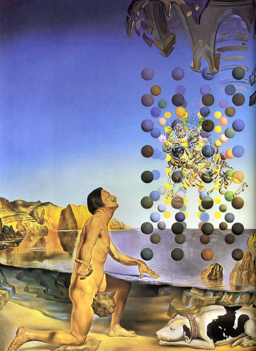Dalì nudo in contemplazione davanti a cinque corpi regolari metamorfizzati in corpuscoli, nei quali si intravede la Leda di Leonardo apparire nel viso di Gala