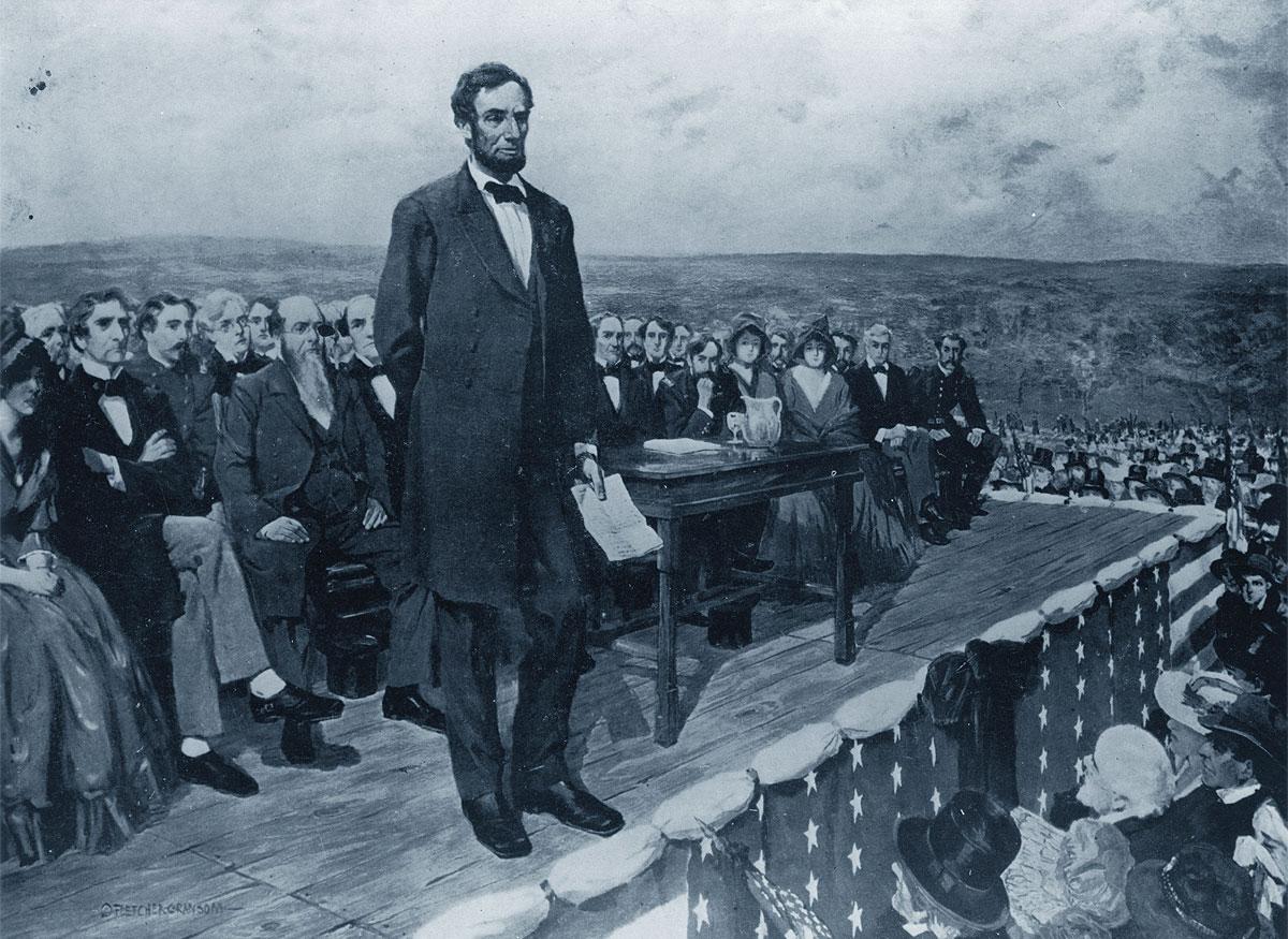 Lincoln ritratto in un disegno mentre pronuncia il Discorso di Gettysburg