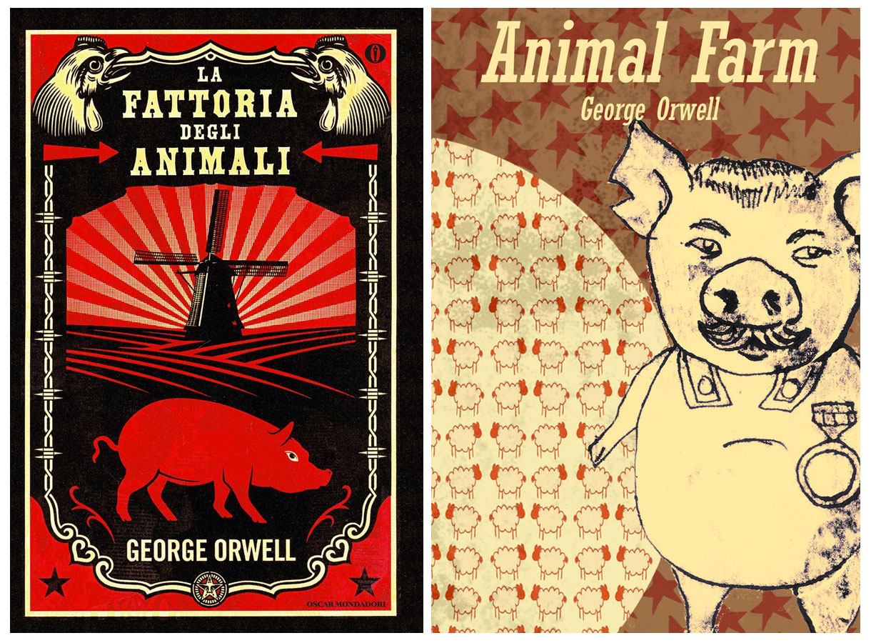 """George Orwell: una copertina italiana del libro """"La Fattoria degli animali"""", e una in lingua originale (""""Animal farm"""")"""