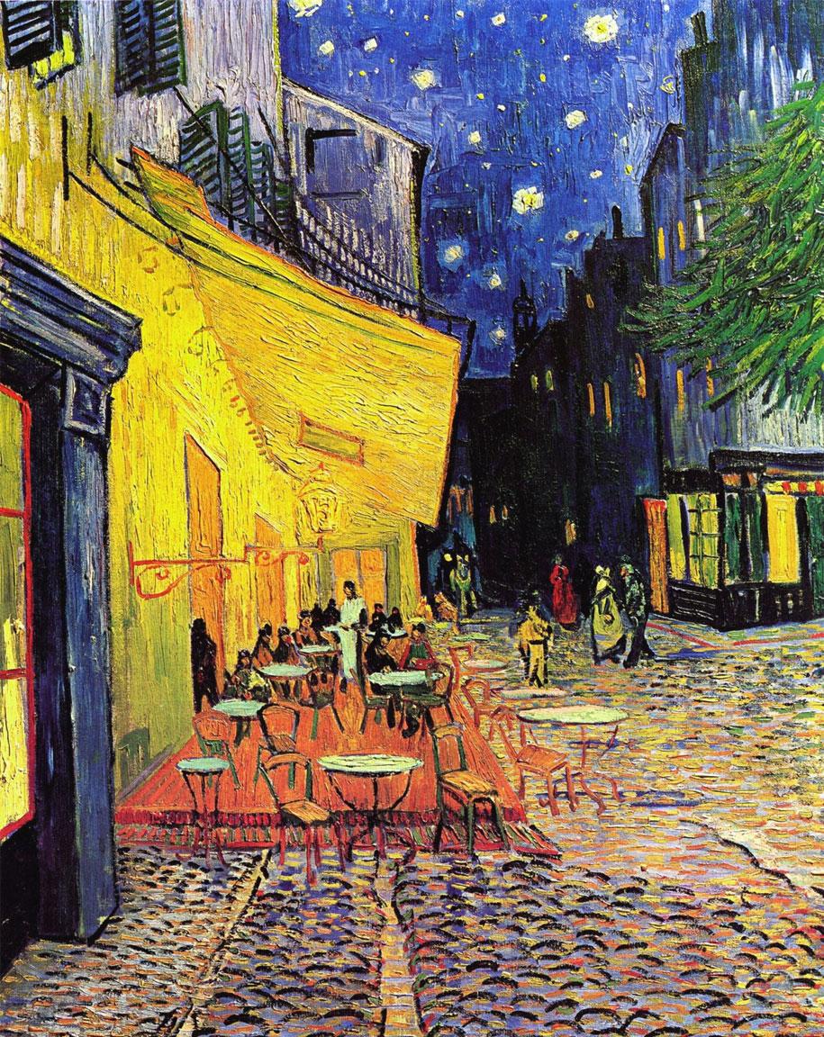 Terrazza del caffè la sera, Place du Forum, Arles: quadro di Vincent Van Gogh