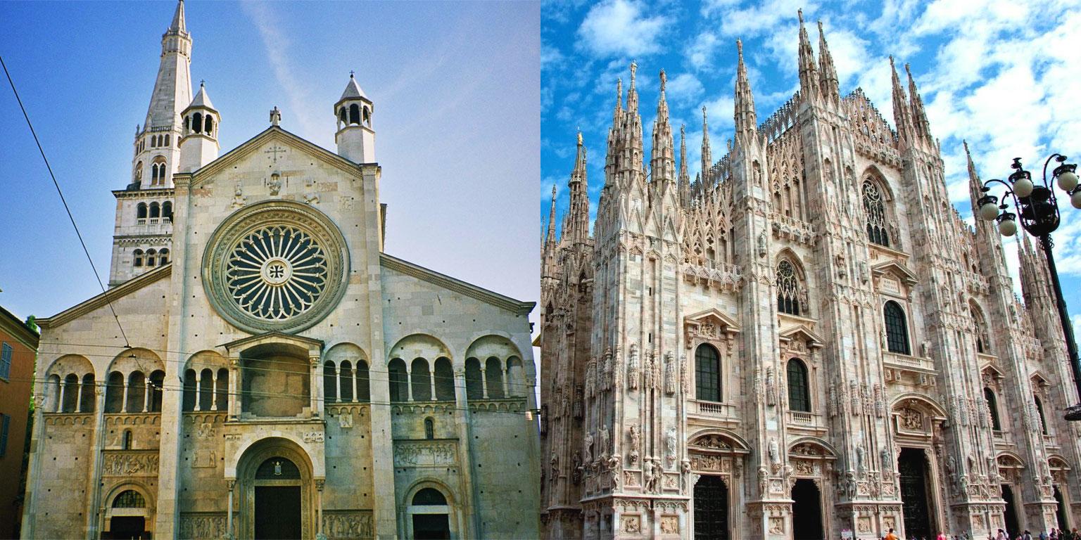 Stili romanico e gotico a confronto: Duomo di Modena - Duomo di Milano - Stili romanico e gotico