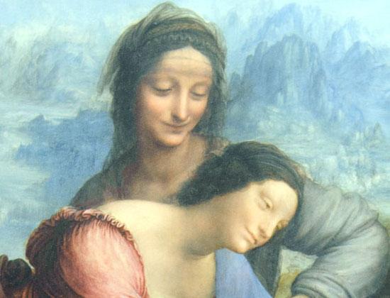 Il dettaglio dei visi di Sant'Anna e di sua figlia Maria presenti nel celebre quadro di Leonardo