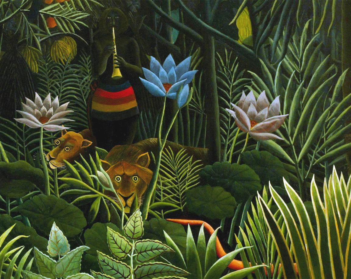 Il sogno (Henri Rousseau, 1910): dettaglio del serprente e dell'incantatore di serpenti