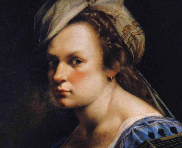 Artemisia Gentileschi: dettaglio del volto tratto da un suo autoritratto
