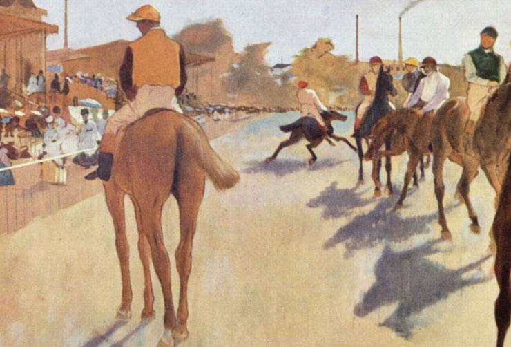 Degas - Cavalli da corsa davanti alle tribune - dettaglio delle ombre