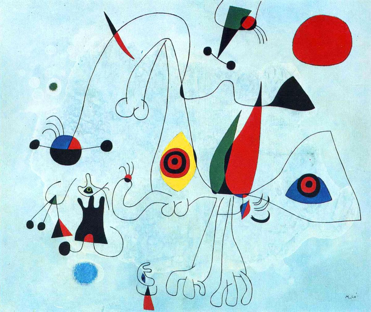Donne e uccelli al levar del sole - Joan Miró - 1946