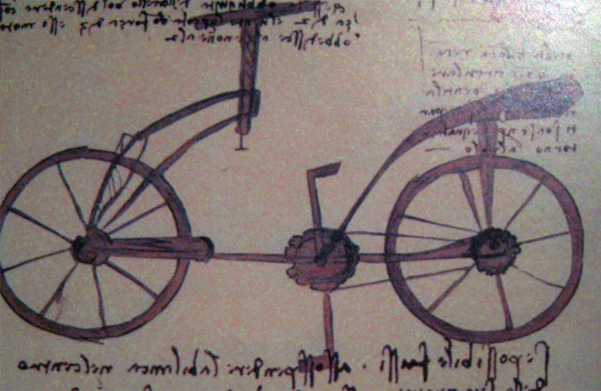 Leonardo da Vinci - Codice Atlantico - Il progetto di una bicicletta
